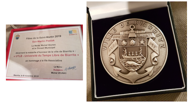 Médaille d'honneur de la ville de Biarritz